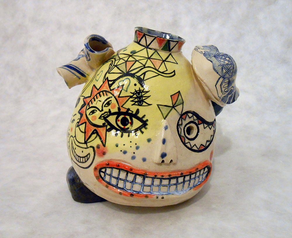 "Jiha Moon  Mexican Korean Blue Willow Face Jug  Earthenware ceramic 6"" x 5"" x 5"" 2014"
