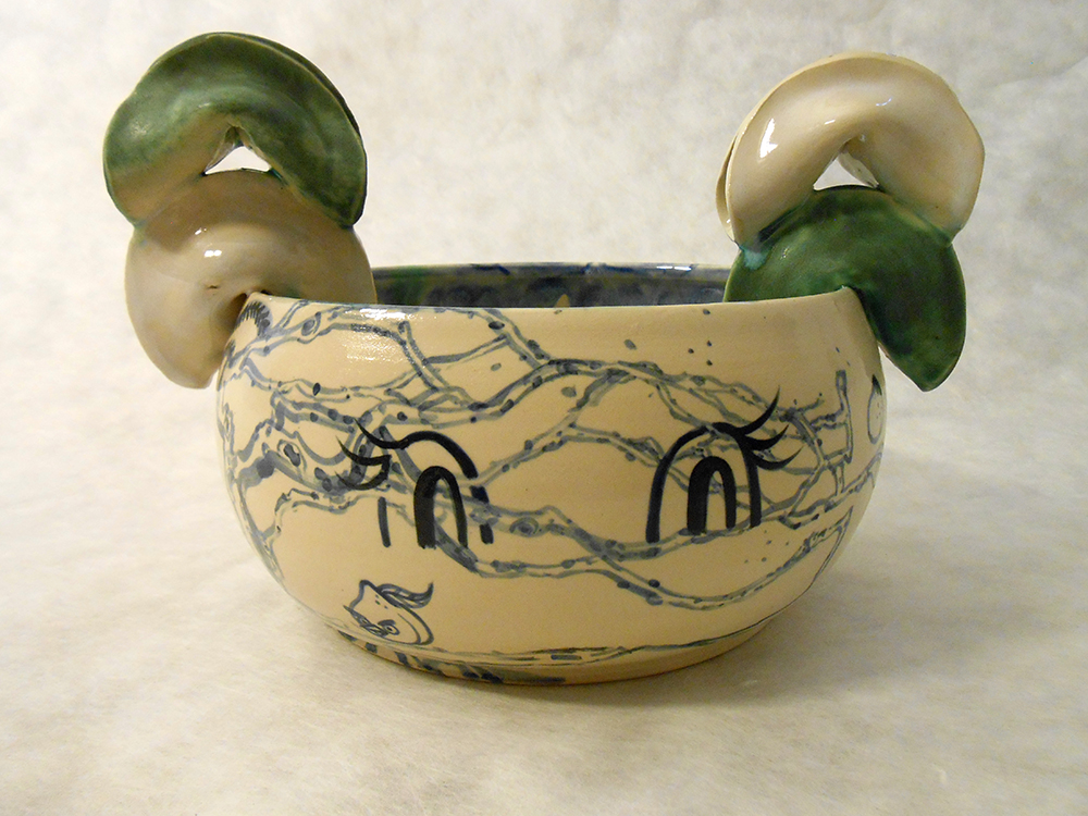 "Jiha Moon  Cupidtal Fortune Head  Earthenware ceramic 10"" x 8"" x 7"" 2014"