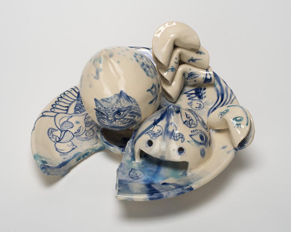 "Jiha Moon  Immortal Desert I  Earthenware ceramic, underglaze & glaze 11"" x 11"" x 7"" 2014"