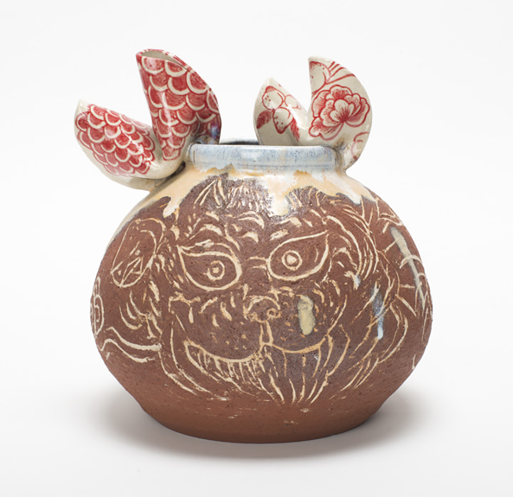 "Jiha Moon  Red Tiger  Earthenware ceramic 9"" x 8"" x 7.5"" 2015"