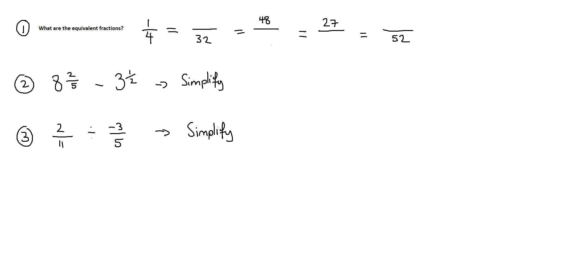 FRACTIONS QUESTIONS - 11th October