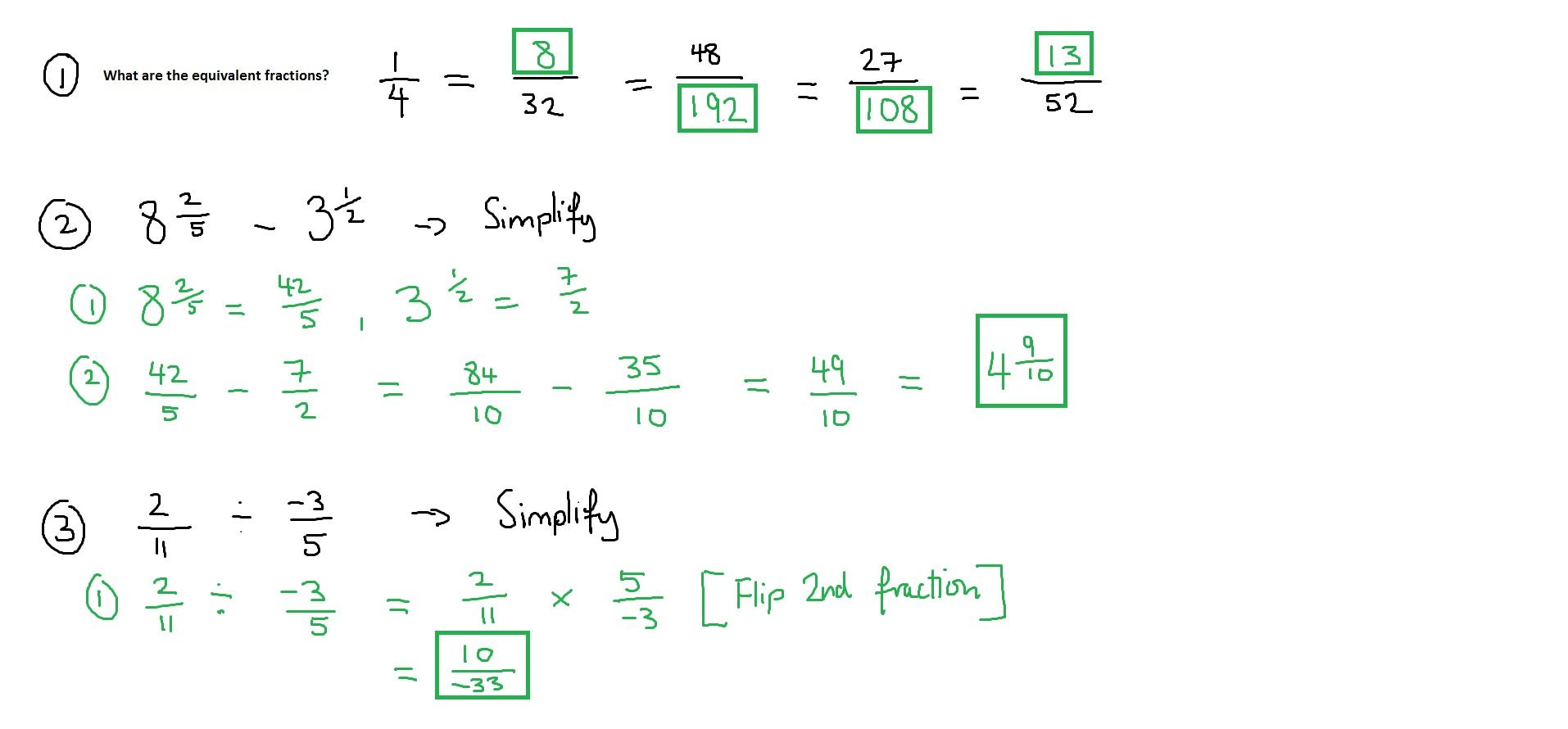 Fractions Answers - 11th October