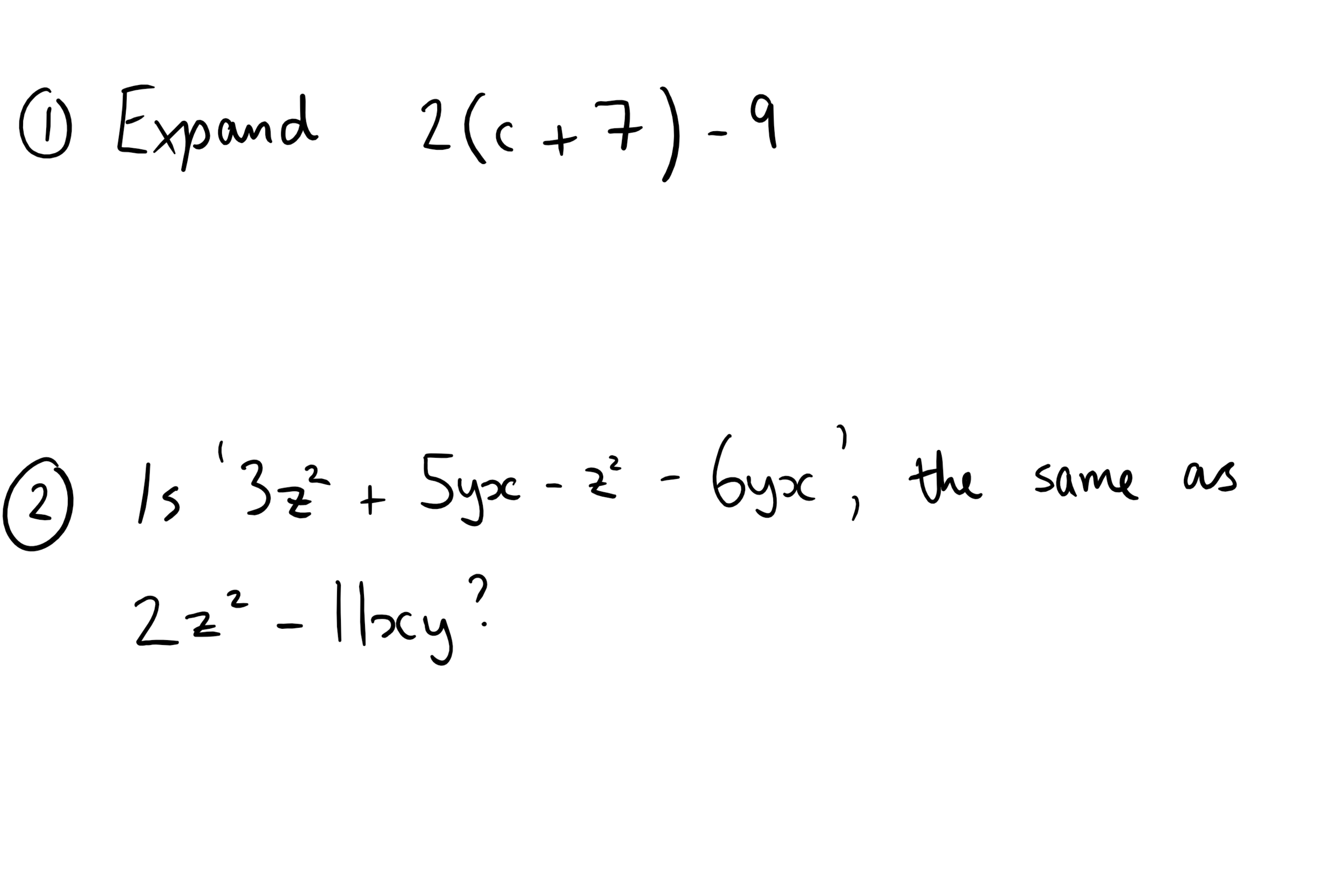 15th October - Algebra Questions