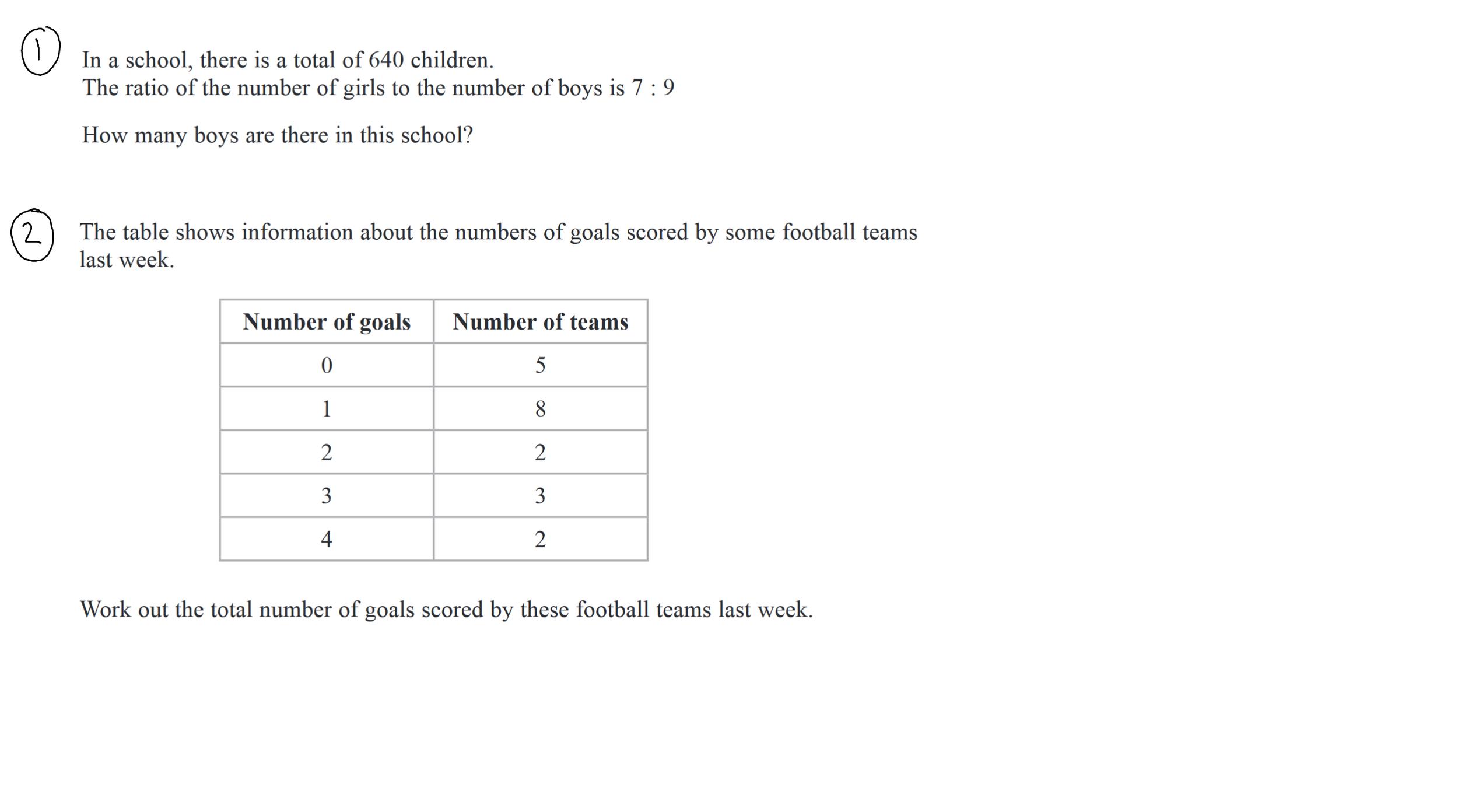 22nd December GCSE Maths Questions 1