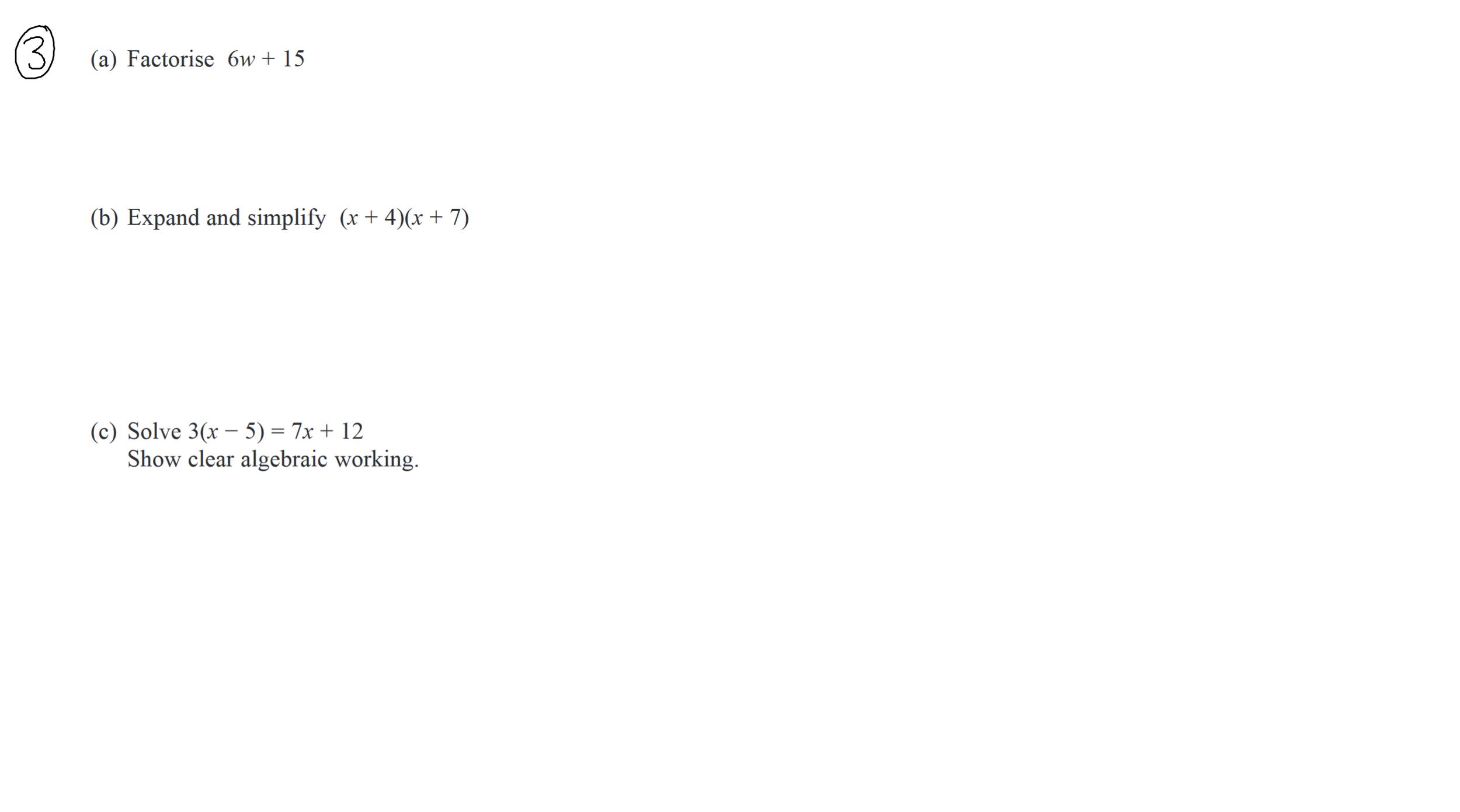 22nd December GCSE Maths Questions 2