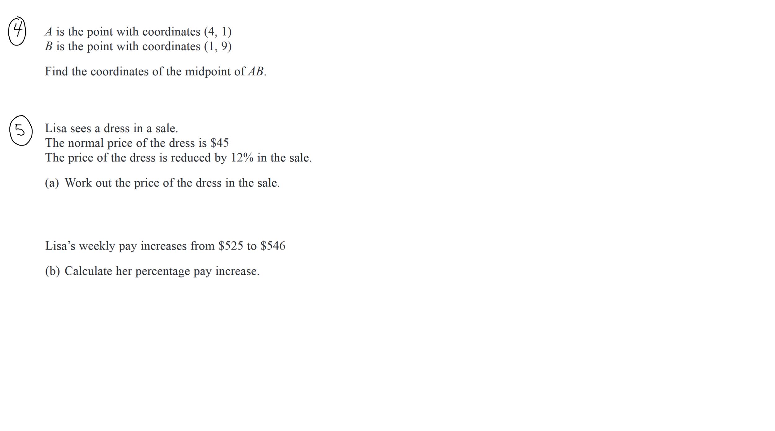 22nd December GCSE Maths Questions 3