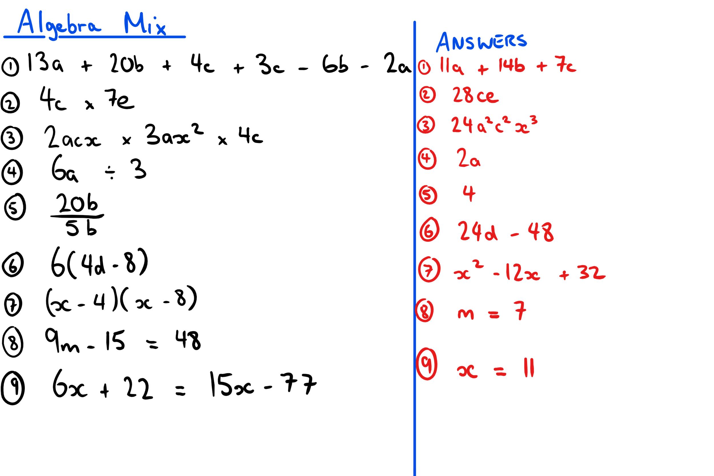 ALGEBRA MIX 18TH JAN ANSWERS