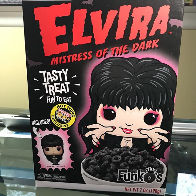 Time for breakfast-NOT!  I just loved the box and the toy prize. #hallowstyle #elvira #mistressofthedark #hvhalloweenqueen