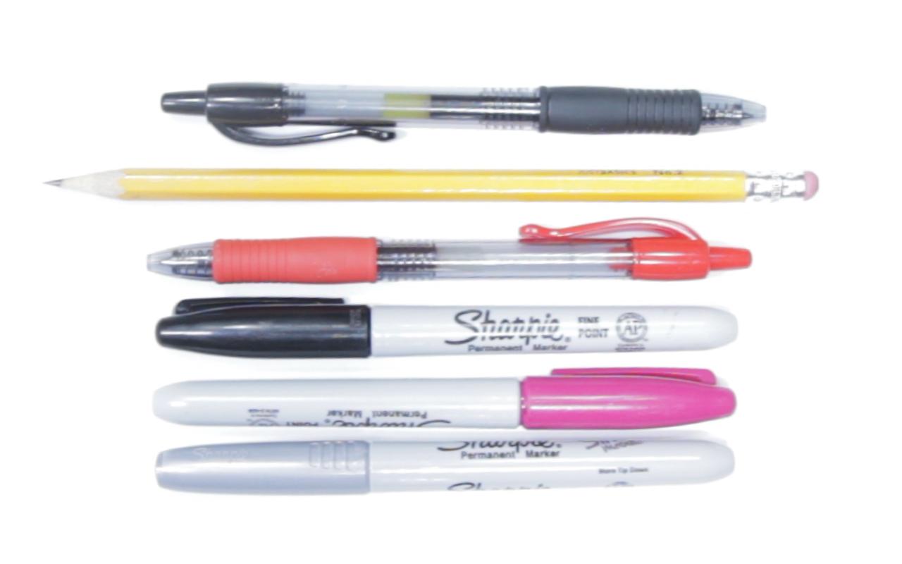 A fine assortment of writing utensils.