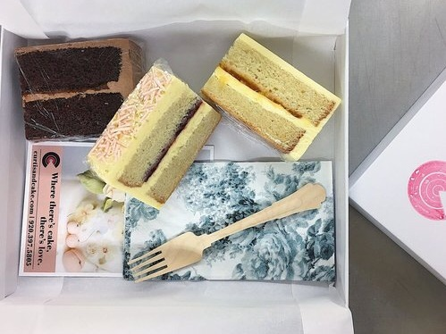 Cake Tasting Box - A beautiful and convenient way to offer cake tastings for engaged couples when wedding prep schedules are tight. Local pick up at the Curtis & Cake studio (in Fort Atkinson) or The FEED Kitchens (in Madison). Shipping available.