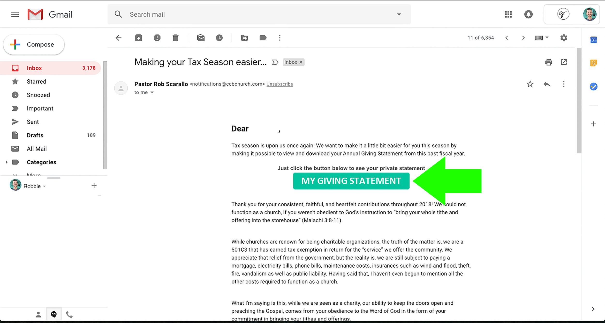 9.  Re-open the Giving Statement email. Click the button to view your statement.