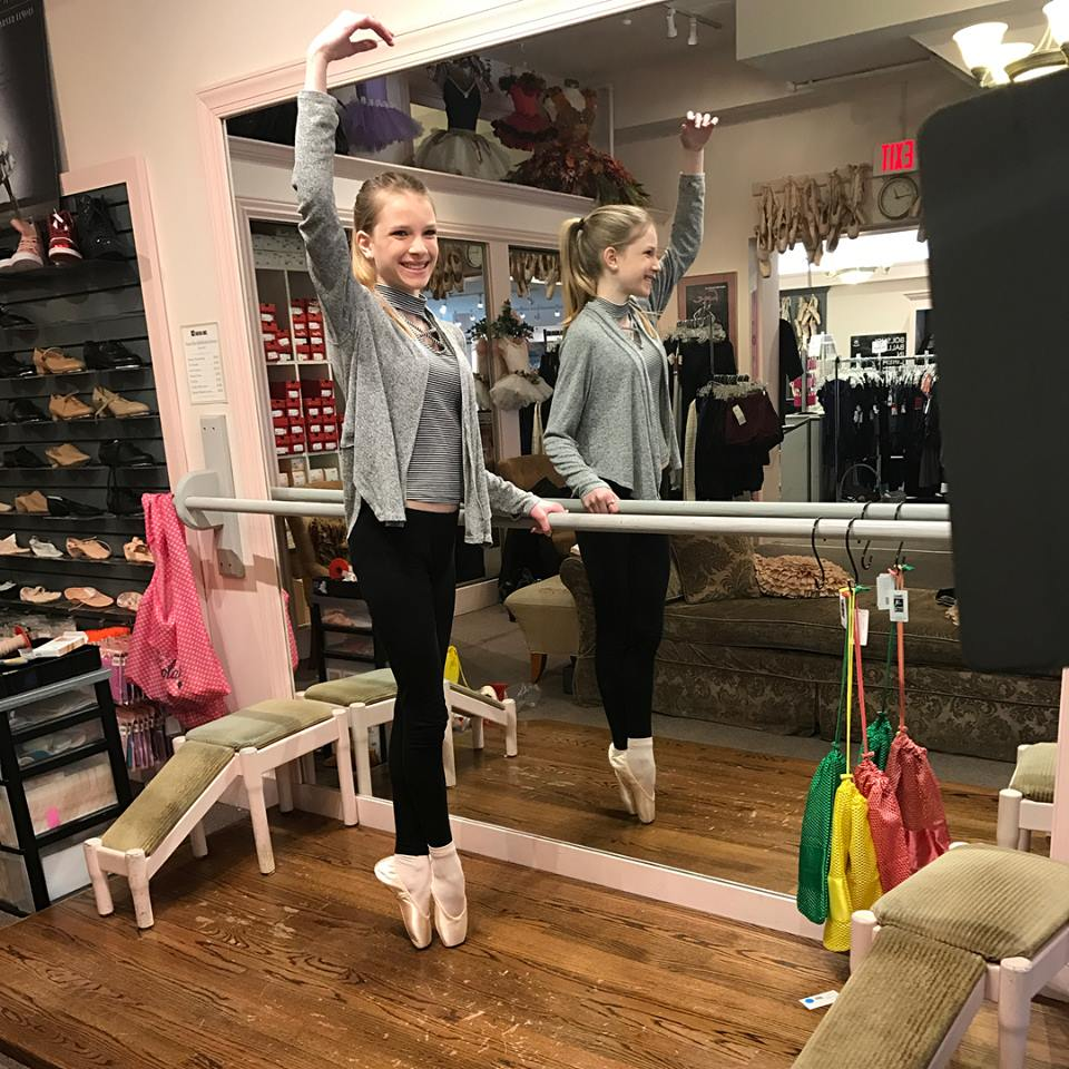 Maryrose Nelson, a Studio B student and Tri County Ballet member, at her first Pointe shoe fitting at Saratoga Dance, Etc.