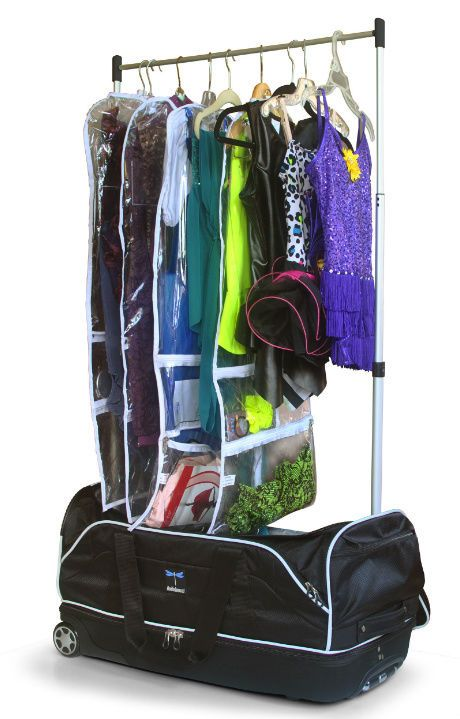 Who's it for : dancers who are on performance teams and have several costumes in each show  This rolling duffel/garment rack  ($131.75) is comparable to the popular Dream Duffel. You can store costumes, shoes, make up and accessories inside the duffel, then pop up the garment rack part backstage for total organization.