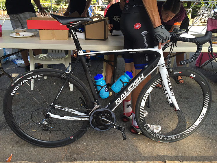Raleigh with SRAM Force - thick front fork.