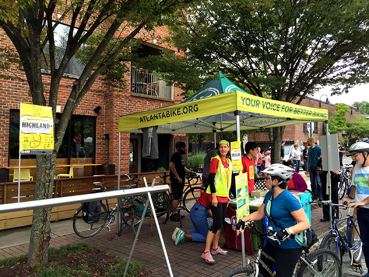 Atlanta Bicycle Coalition had several stands set up along the route.