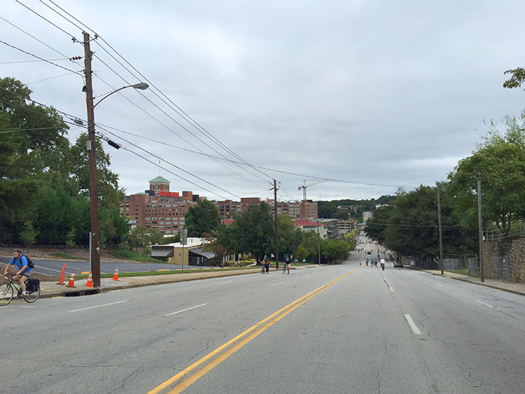 Wild seeing North Ave without cars. This hill was pretty steep and people were walking their bikes up it.