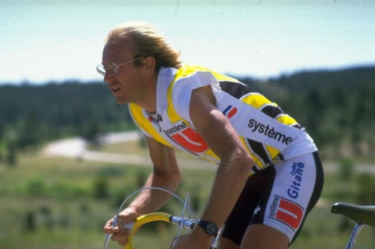 "Fignon. Who else could pull off wearing short sleeves, long hair blowing in the breeze (""F aerosavings""), and wire rimmed glasses? Who else, I ask you?"