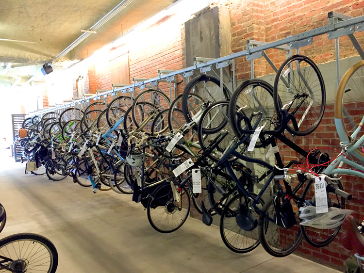 The bike valet was completely full this day at Ponce City Market, and they began stacking bikes.