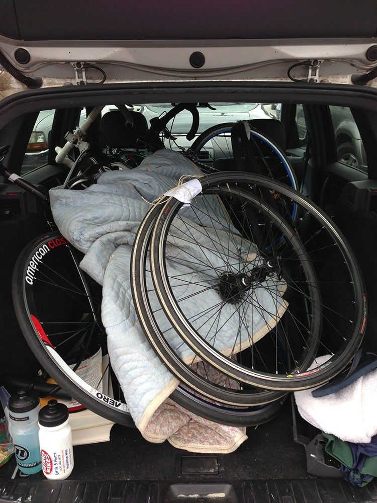 The back of my SUV after the first day of an omnium - a buddy and I were car pooling, so lots of bike equipment.