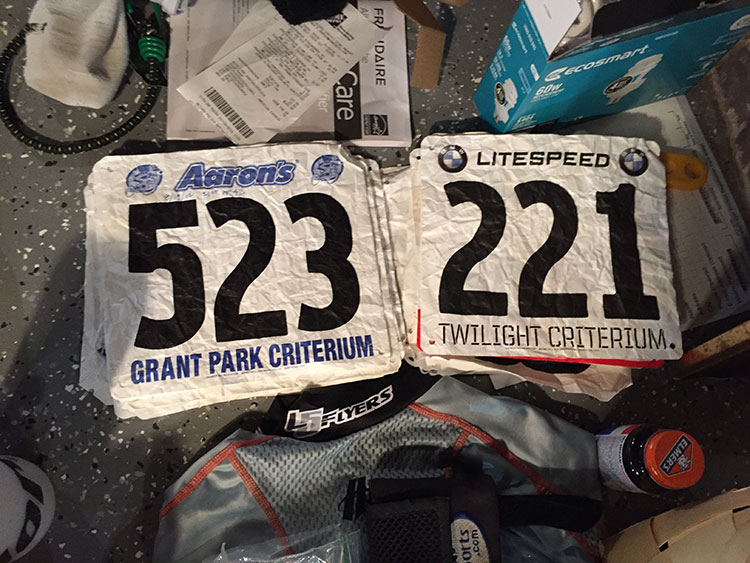 Race numbers from my first year racing, 2012.