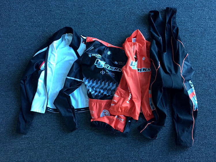 Bib knickers, long sleeved jersey, jacket and wind vest.