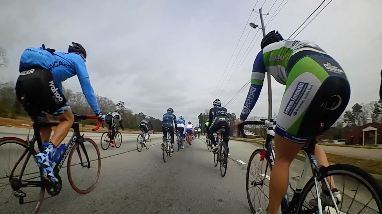 The Wahoo Kickr Masters team sporting a blue triangle pattern again, and a nice all blue LS jersey. Very visible in the peloton.