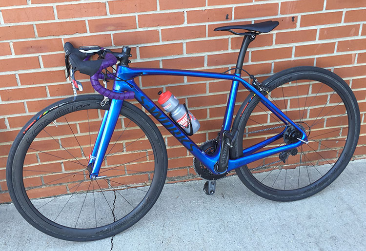 Ladies bike, nice almost blingy blue.