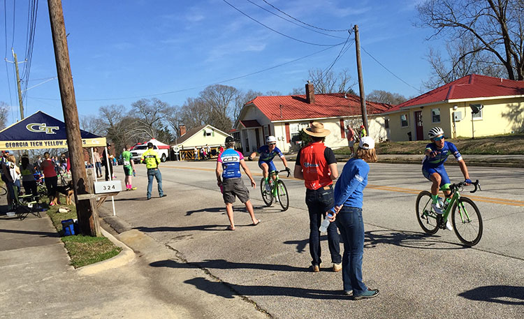 More P/1/2 breakaway riders in the feedzone. Lots of bottles get dropped, thrown, etc. Dehydrated guys who don't have any team support begging for bottles. It's kinda a hectic place to be.