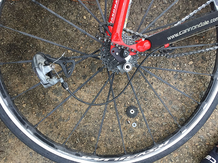 On my way to work the chain got bound up, and so the rear derailleur broke off.