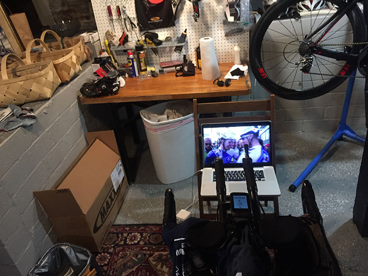 Streaming Milan - San Remo while on the trainer.
