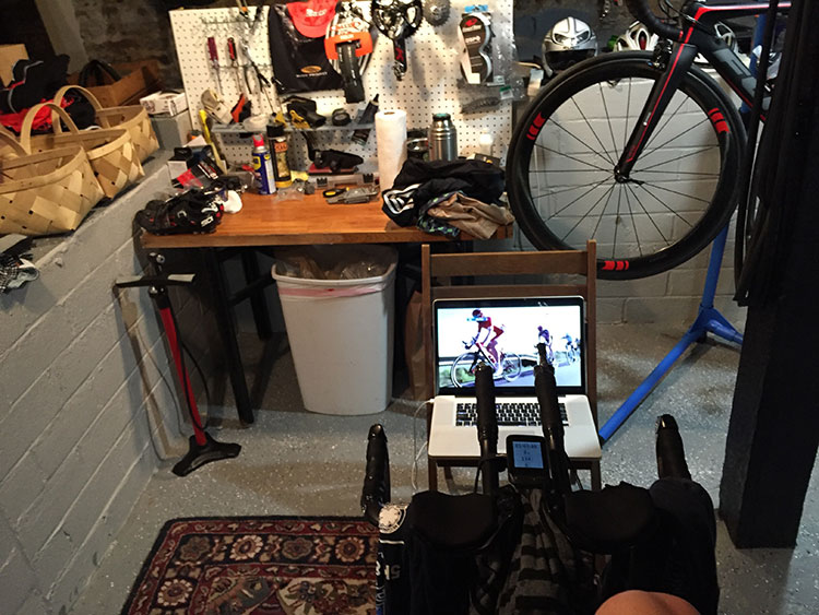 Streaming the Volta a Catalunya while on the trainer.