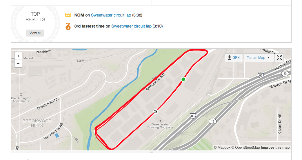 Sweetwater Training loop - excellent for intown TT training. Low traffic, no stop lights.