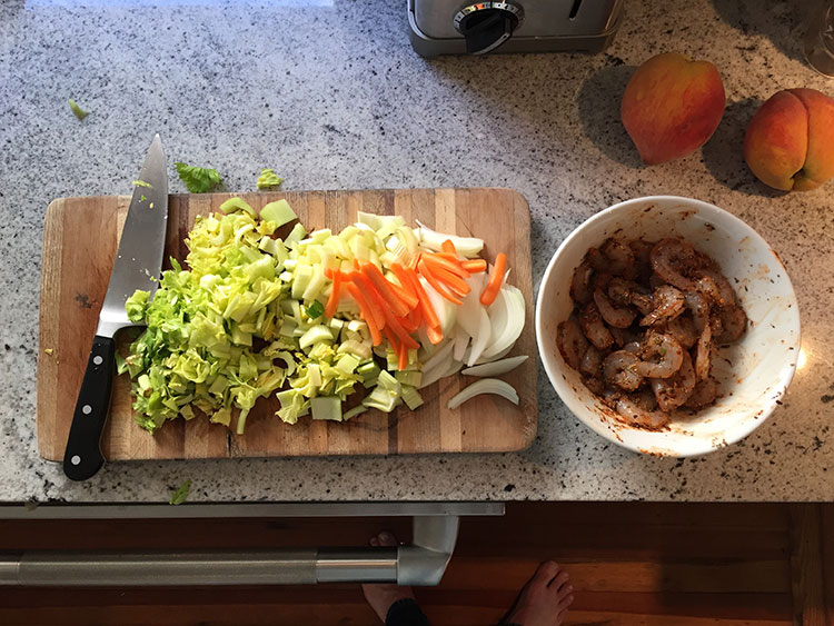 Blackened shrimp and veggies NOLA-esque stylz.