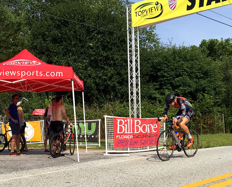 Stopping the Garmin at the start/finish banner and not the line. DON'T STOP IT YET THAT'S NOT THE LINE!!!!