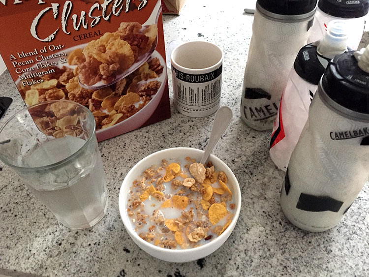 Morning of a race - been really digging this cereal from Trader Joes. To a fault.