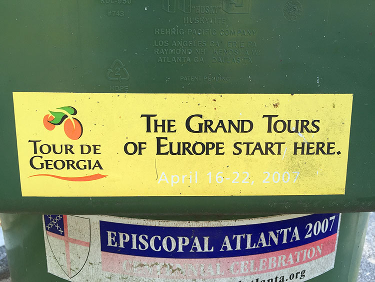 Spotted this on a trashcan on our street. So cool. Wish the Tour de Georgia still existed.