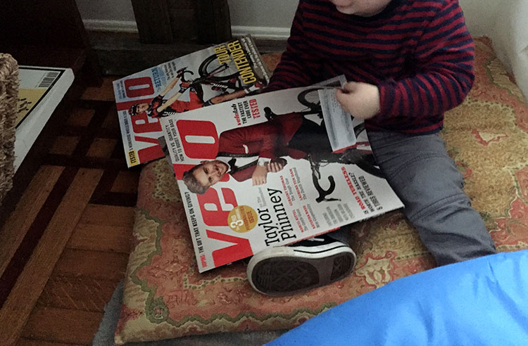 Son pulling out some old Velo mags.