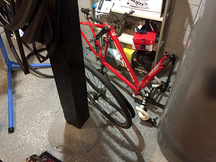 The CX bike. After Serenbe I sprayed it off, put it there, and it hasn't moved since.