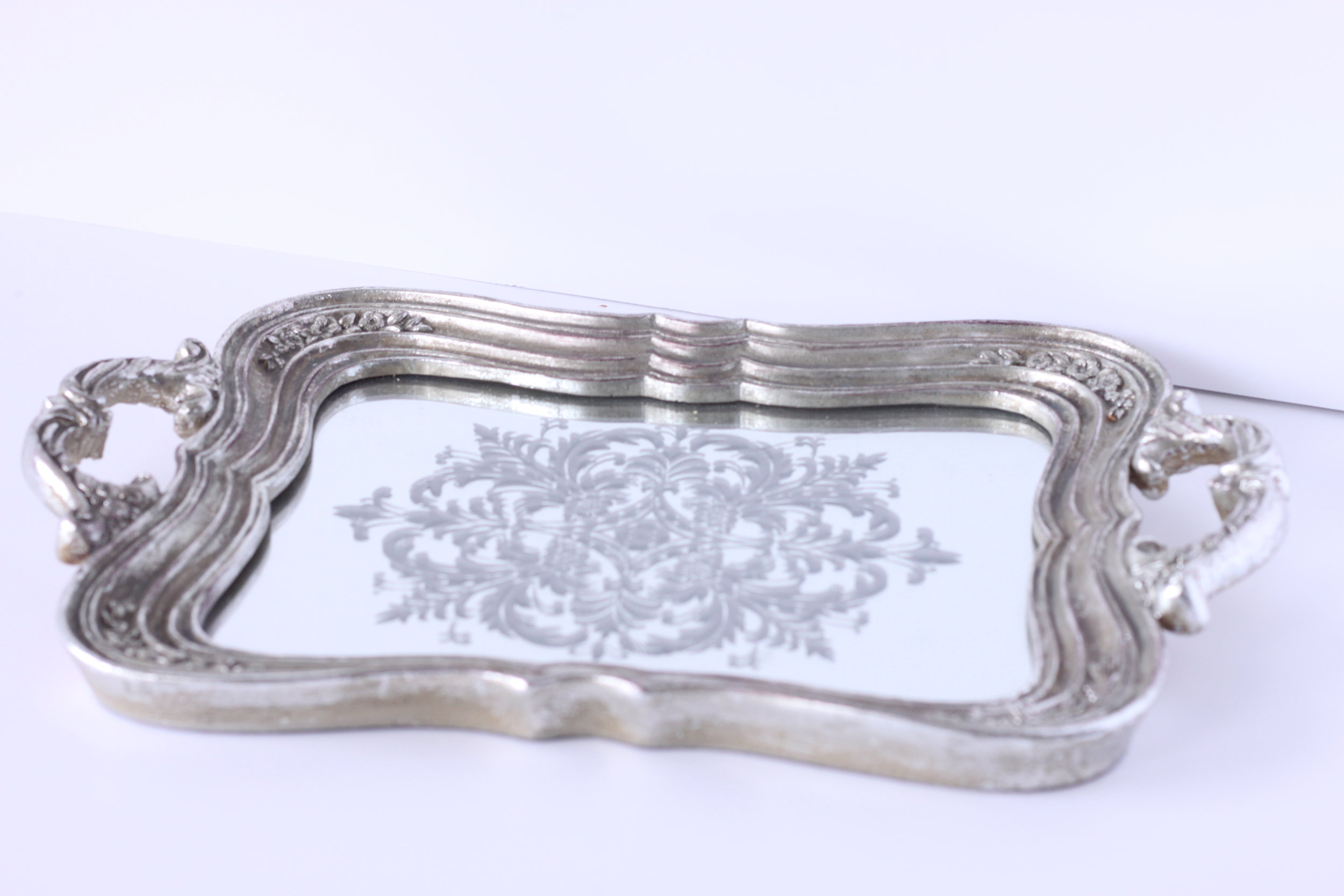 Copy of Silver mirrored handle tray $6/ea.