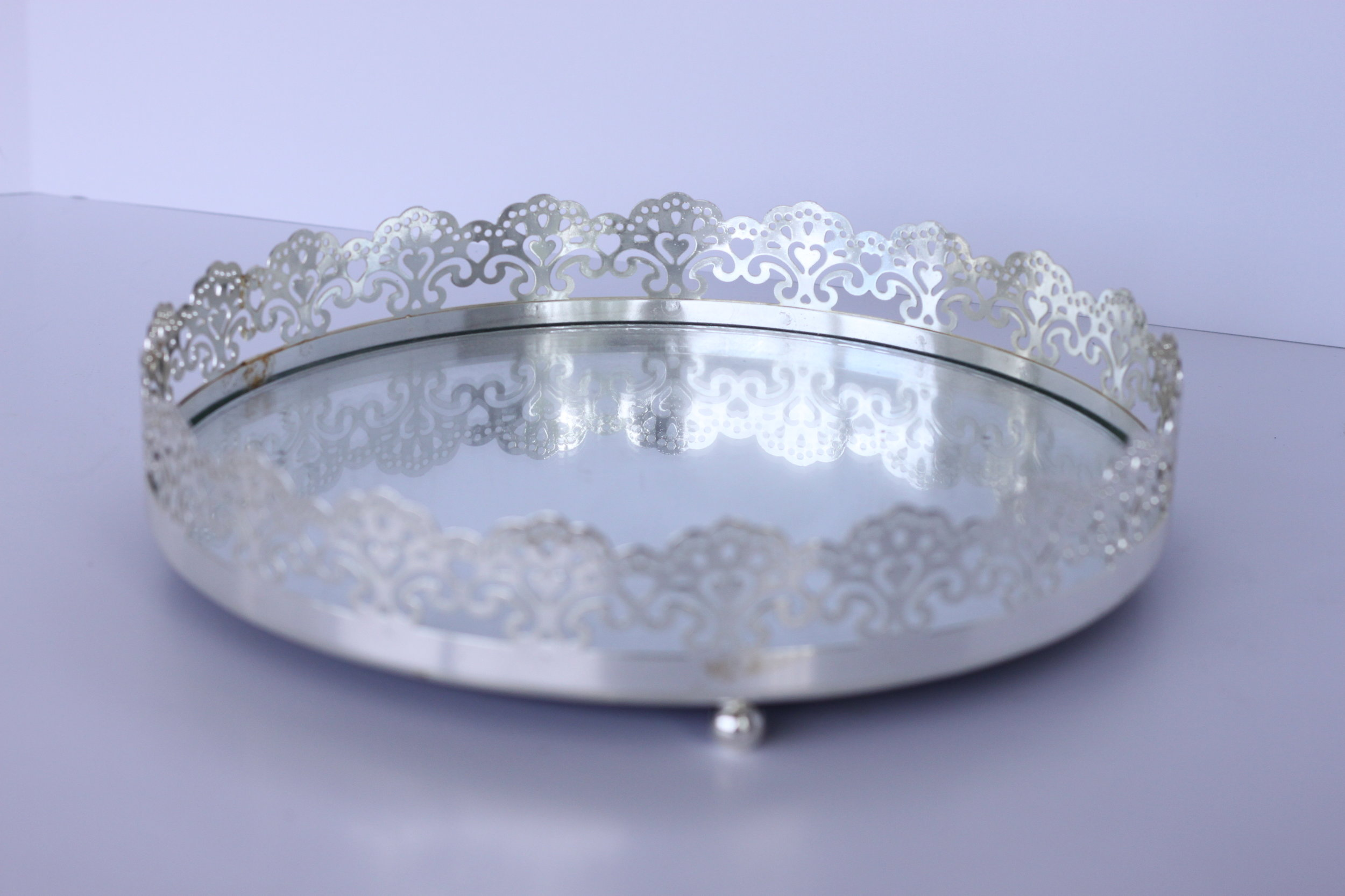 Copy of Silver Filigree Tray $5/ea.