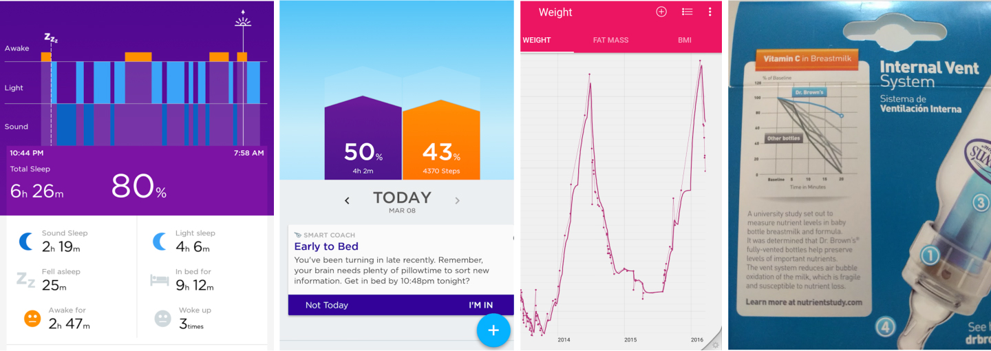 "The first two images are from  Jawbone UP , which tracks my sleep and steps; the first image depicts a night of sleep (and wakefulness, shown in orange —feeding times)  and the second image shows my total sleep and steps for a given day. The third image is a screenshot of my weight over time collected via our  Withings scale  (y-axis scale/labels intentionally not shown; if I could annotate the peaks, the first would read ""Dorian birth"" and the second ""Eloise birth,"" perhaps I'd also draw a ""goal"" line somewhere near the bottom!). The final image is from a package of Dr. Brown bottles—great use of color and text in graph to highlight the Dr. Brown line."
