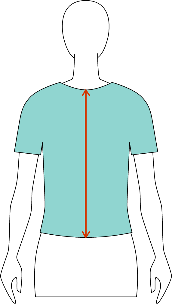 Total length: - the garments are measured in your center, in your back, from edge to edge as shown by this red line.So when the neckline starts lower, the measurement starts lower.