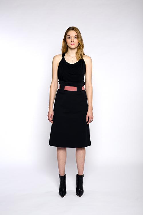 Justine-leconte-black-belted-skirt