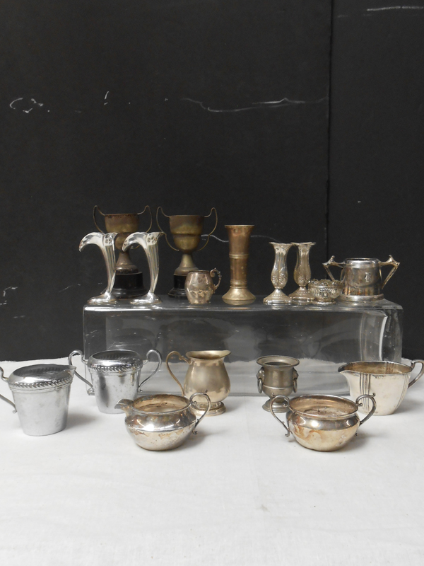 Vintage small silver vases
