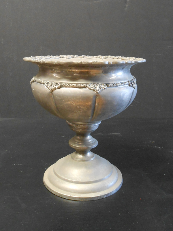 grooved silver urn