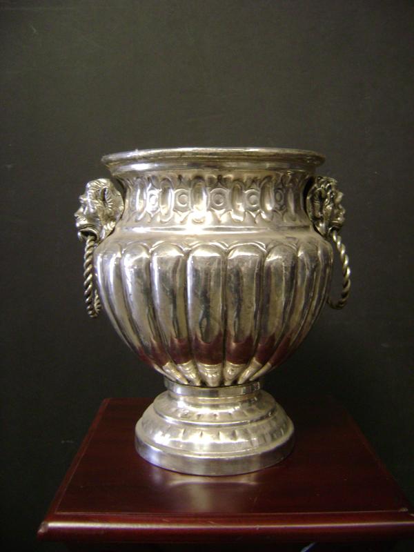 Lionhead silver urn