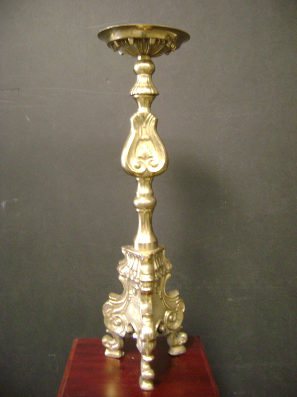 Footed brass Candelstick