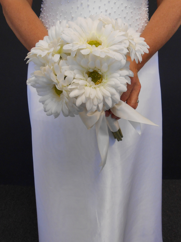 White gerbera daisy bridal bouquet