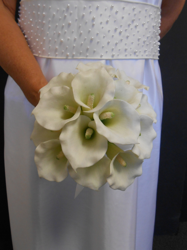 Mini white callas bridal bouquet