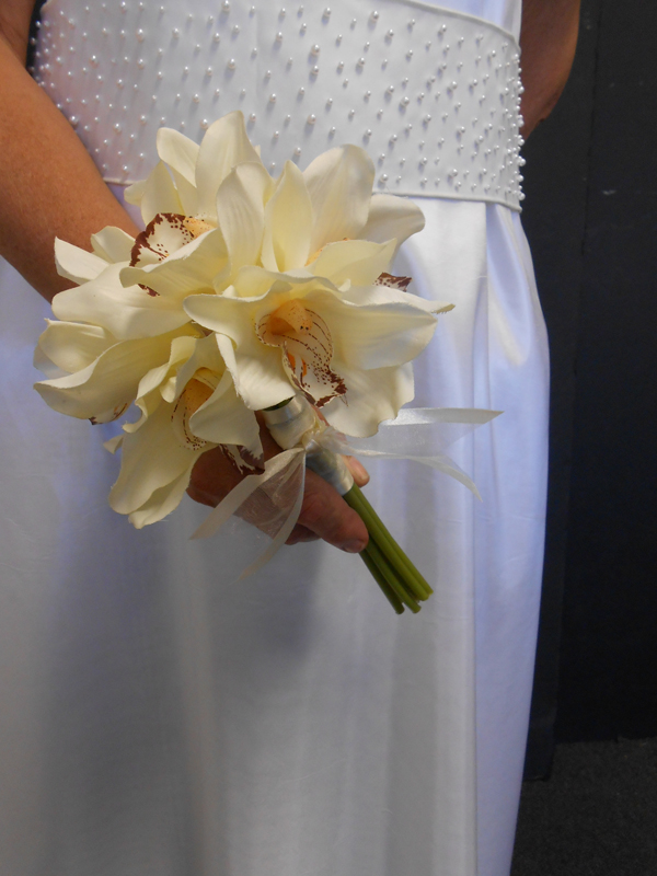 Cream cymbidium bridal bouquet